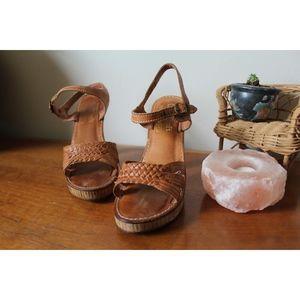 Vintage Shoes - VTG 70s Rare Boho Wooden Heels
